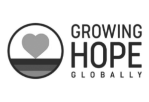 growing hope global black and white logo