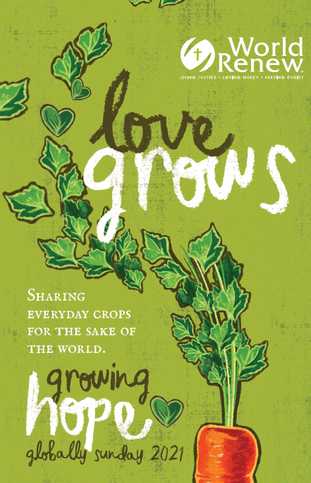 """planted carrot and text saying """"love grows"""""""
